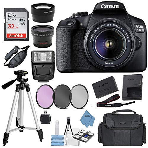 "Canon EOS 2000D Digital SLR Camera w/ 18-55MM DC III Lens Kit (Black) with Accessory Bundle, Package Includes: SanDisk 32GB Card + DSLR Bag + 50"" Tripod + Extreme Electronics Cloth…"
