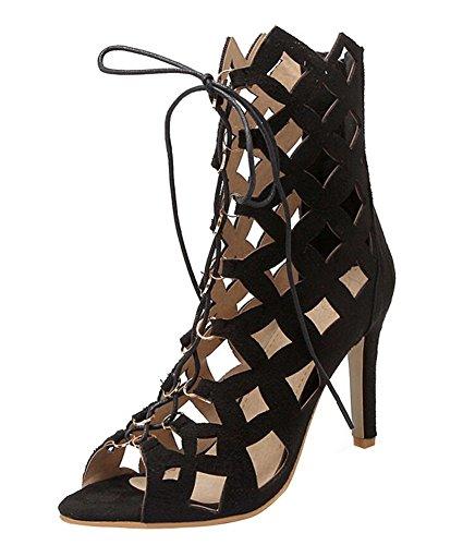 41df2b730ae6 YE Damen High Heels Sommerstiefeletten Offen Ankle Boots Cut Outs Sandalen  mit Schnürung 10cm Absatz Schuhe