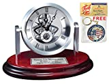 Round Silver Da Vinci Dial Desk Table Clock on Cherry Wooden Base with Silver Engraving Plate. Personalized Desk Clock Anniversary, Employee Recognition Service Award, Wedding or Retirement Gift