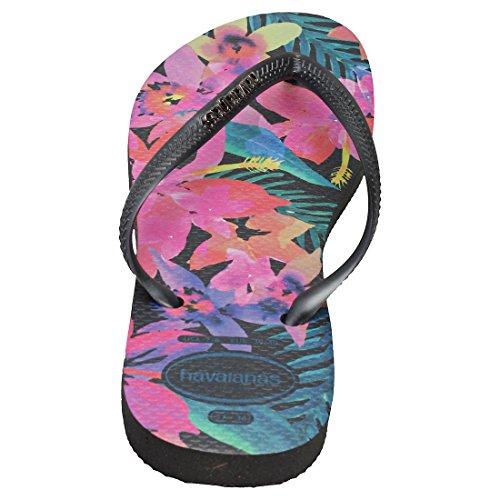 Havaianas Slim WomenS Tropical Flip Flops Black