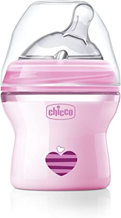 Chicco NaturalFeeling - Biberón con tetina inclinada especial para lactancia mixta, flujo normal, 150 ml, 0 m+, rosa