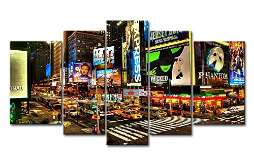 5 Panel Wall Art Painting City Night Broadway Street Pictures Prints On Canvas City The Picture Decor Oil For Home Modern Decoration Print ()