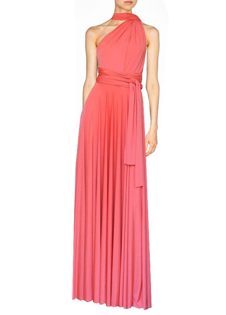 E K Women's convertible plus size maxi dress Long infinity multi-way gown-4X-5X-Coral