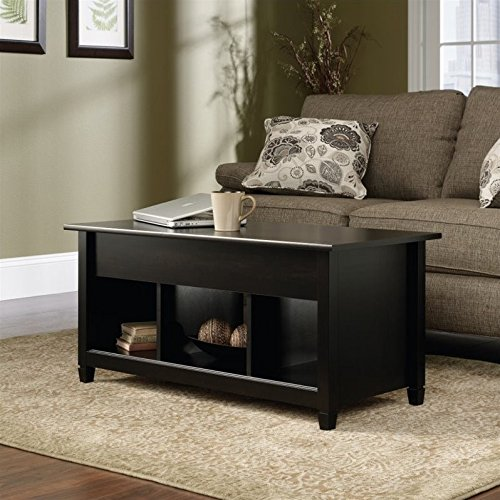 Sauder Edge Water Lift Top Coffee Table, Estate Black finish (Desk That Turns Into A Dining Table)