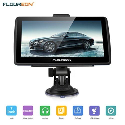 FLOUREON 7 Inch Truck&Car GPS Navigation Capacitive LCD Touch Screen Truck&Car GPS Navigation SAT NAV Navigator Lifetime Map Updates 8GB Blue