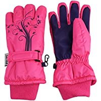 N'Ice Caps Girls Thinsulate and Waterproof Winter Gloves with Flower Tattoo Print