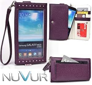 EXPOSE' Series: Dark Purple Clutch Wallet Phone Holder May Fit Lenovo S890 NuVur ™  ESXLEXU1 