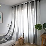 Grey and White Striped Curtains DEZENE Vertical Striped Sheer Curtains for Living Room Tulle Panels with Grommets,54 Inches Width x 96 Inches Long, Grey and White