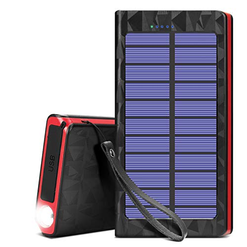 Portable Solar Cell Phone Chargers,Power Bank 20000mAh with Fast Charge USB C 3A Input,External Batteries Pack 2.4A Output Solar Panel Charger with Flashlight for Camping, Outdoor Activities (Red)