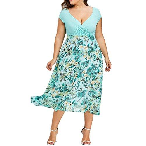 WM & MW Womens Dresses Plus Size,Ladies Midi Dress Floral Patchwork Sexy Wrap V Neck Chiffon Prom Dress (XXL, Green) by WM & MW