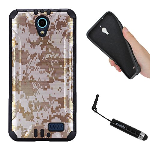 URAKKI Case, Black Hybrid 2-Layer Shock Proof Rugged Armor Cover Case Compatible with ZTE Z Five 2 ZFIVE 2 (2017), ZTE Avid Trio, ZTE Cheers [Brow Desert Camouflage] Case