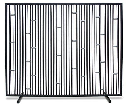 "Pilgrim Home and Hearth Polished Stainless 18312 Arden Summer Fireplace Screen-No Mesh, Matte Black, 39""W x 31""H, 18 Lbs,"