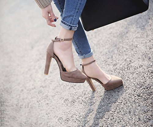 Retro Suede Chunky Heel High Heels Female Shallow Mouth Hollow Waterproof Table Sandals Elegant Baotou Shoes (Color : Brown, Size : 37)