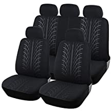 CL1003B51 Carline Tire Treads Design Fabric 9pcs Full Car Seat Covers Compatible to Jeep Grand Cherokee Cherokee Renegade Wrangler Unlimited Wrangler Compass Patriot 2017-2007