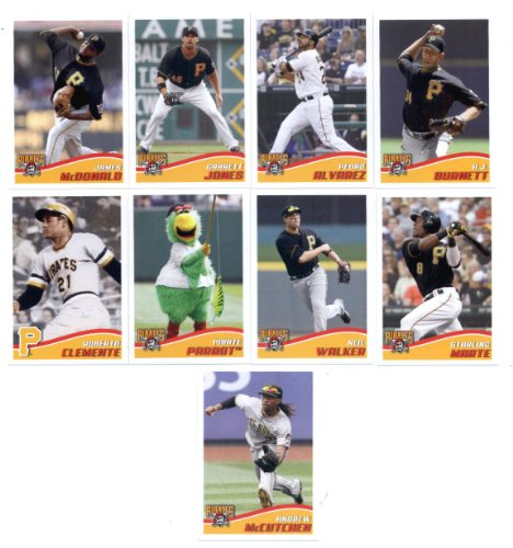 2013 Topps MLB Stickers Pittsburgh Pirates Team Set (9 Stickers) - Roberto Clemente, A.J. Burnett, James McDonald, Garrett Jones, Pedro Alvarez, Neil Walker, Starling Marte, Andrew McCutchen, and Parrot the Pittsburgh Pirates Team Mascot