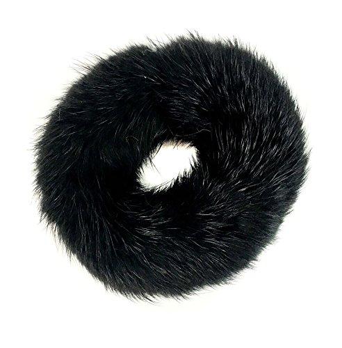 Mink Pom Ponytail Holder - Gentle Damage Free Hair Tie - Hair Beauty Accessories - Mink Fur Womans Girls Hair Care Gift (Black)
