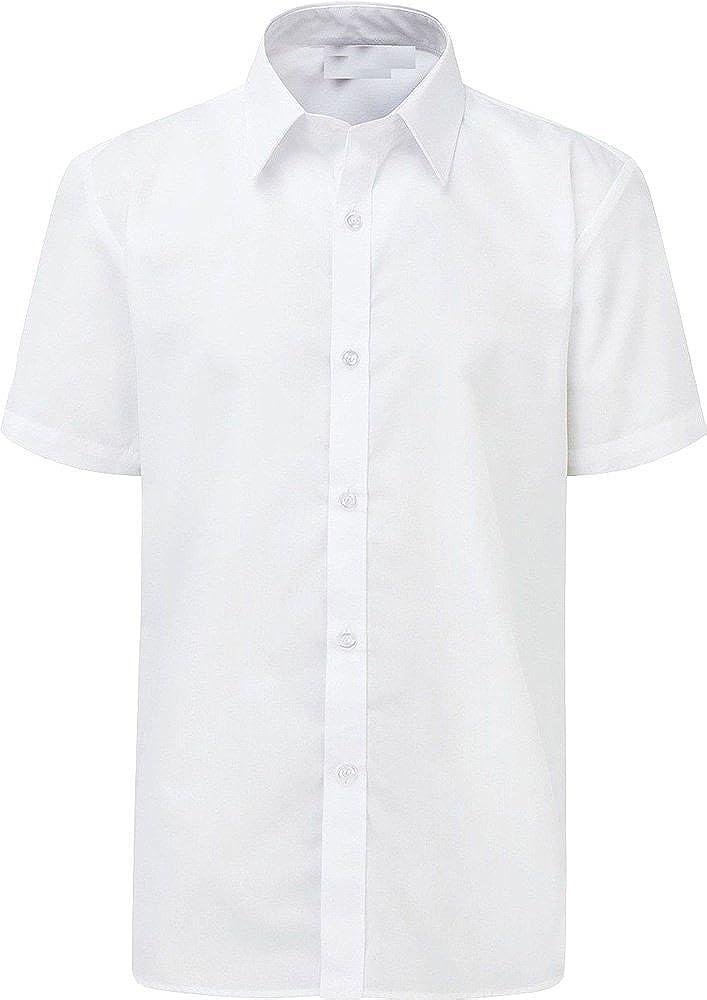 Only Global Boys School Shirt Uniform Short Sleeve White Sky Blue Age 2-18 Years ***UK