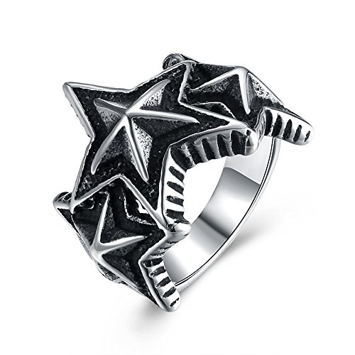 Punk Star Wedding Ring Stainless Steel Valentine's Day Gift For Boys Brother by Mrsrui