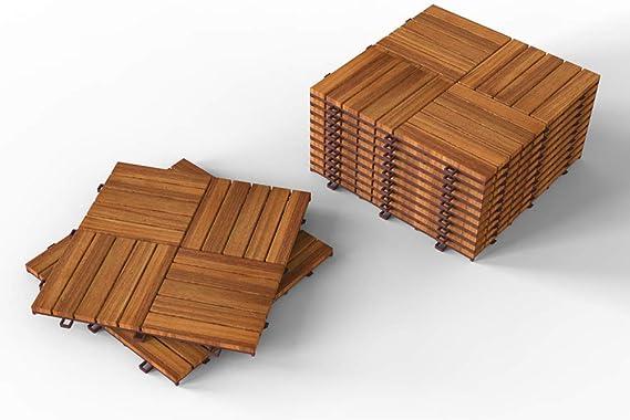 Interbuild Camp 20 - Baldosas de madera de acacia para balconas y terrazas - 30 x 30 cm - 0,9 m2 por PACK - 10 en total