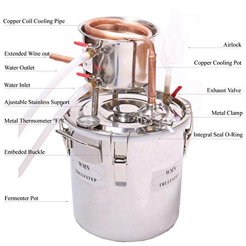 WMN_TRULYSTEP MSC03 Copper Alcohol Moonshine Ethanol Still Spirits Boiler Water Distiller, 20 Litres by WMN_TRULYSTEP (Image #1)