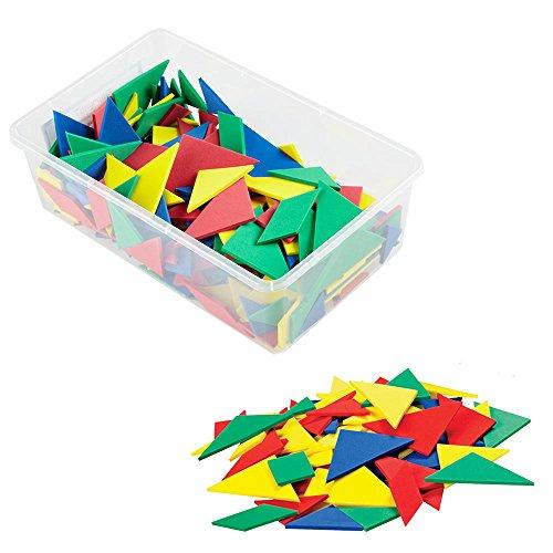 (han2mind Foam, Tangram, Pattern Block Manipulative Set for Math Puzzles (Pack of 28))