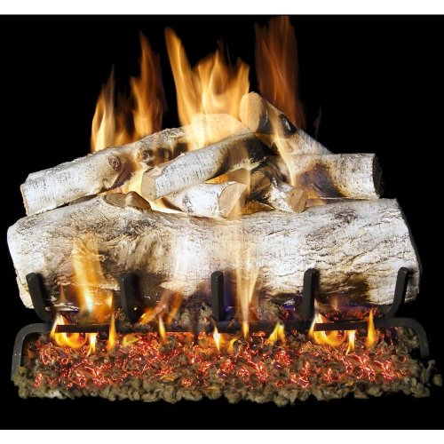 Peterson Real Fyre 24-inch Mountain Birch Log Set With Vented G45 Natural Gas Burner (G45 Burner)
