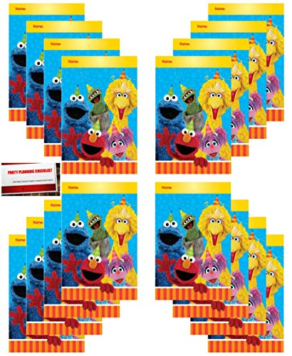 Sesame Street 16 Pack Elmo Cookie Monster Big Bird Party Plastic Loot Treat Candy Favor Bags (Plus Party Planning Checklist by Mikes Super Store)]()