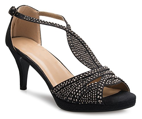 - OLIVIA K Women's Sexy Strappy Glitter Rhinestone Open Toe Heel Sandals - Adjustable Buckle