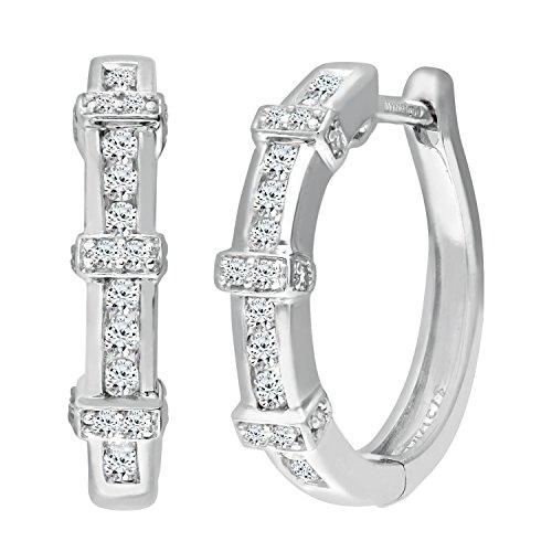 Revoni Bague en or blanc 9carats-Mesdames Diamant Boucles d'oreilles