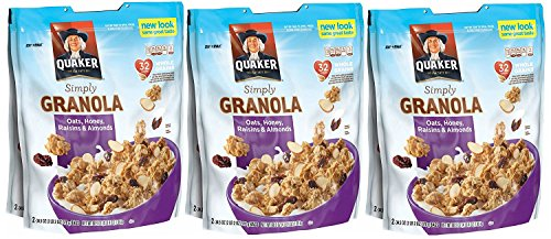 - 3 X Quaker Natural Granola Oats, Honey, Raisins and Almonds - Two 34.5oz Bags