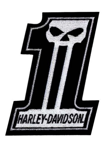 HARLEY-DAVIDSON #1 Skull Black & White Small Patch, 3'' W x 4'' H EM718302 (Harley Davidson Patch One)