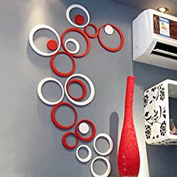 Wall Sticker, Leegor 1 Set Indoors Decoration Circles Creative Stereo Removable 3D DIY Wall Stickers (White)