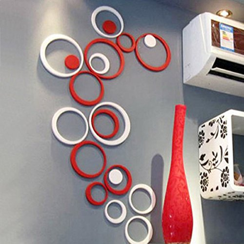 Wall Sticker, Leegor 1 Set Indoors Decoration Circles Creative Stereo Removable 3D DIY Wall Stickers (Red)