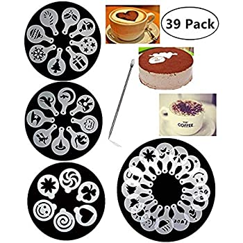 Lautechco 4Pcs//Set DIY Birthday Cake Spray Mold Decorating Heart Flower Screen Printing Film Coffee Tiramisu Decorating Bakery Tool