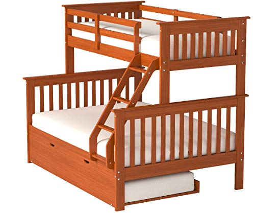 Bunk Bed Twin over Full Mission Style in Espresso with Trundle by DONCO