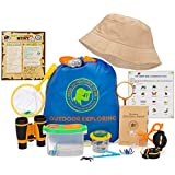 Outdoor Explorer Kit for Kids-Bug Catching & Adventure Toy-Gift for Boys & Girls age 3-12 with Binoculars-Compass-Magnifying Glass-Bug Catcher Set+Containers-Butterfly Net & Backpack-Camping-Hiking