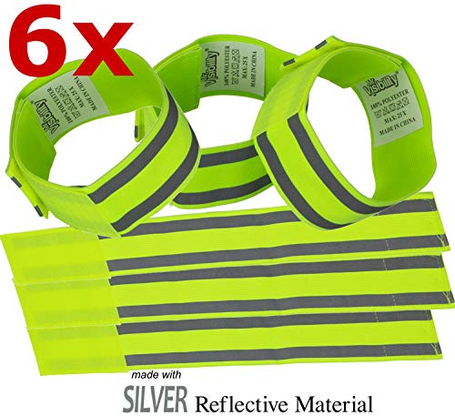 Reflective Band (6 Bands/3 Pairs) | High Visibility Safety Gear for Running, Bike, Dog Walking, Jogging | Wearable as Ankle Bands, Armband, Wristbands | Made of Silver Strap, ()