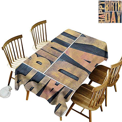 Sillgt Fashions Rectangular Table Cloth Birthday Wooden Printing Blocks Party Decorations Table Cover Cloth 54