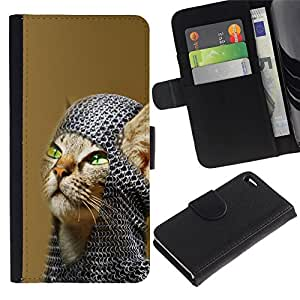 All Phone Most Case / Oferta Especial Cáscara Funda de cuero Monedero Cubierta de proteccion Caso / Wallet Case for Apple Iphone 4 / 4S // American Shorthair Knight Cat