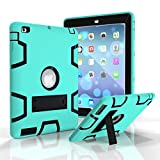 iPad 4 Case, - SinYong iPad4/3/2 Case Cover - Shock-Absorption / High Impact Resistant Hybrid Dual Layer Armor Defender Full Body Protective Case (mint green+Black)