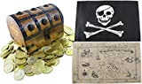 """Large Wooden Pirate Treasure Chest Kids Toys 6.5"""" x 4.5"""" x 5"""" Deluxe Lock Hasp Gold Plastic Coins Nautical Map Authentic Jolly Roger Flag By Well Pack Box"""