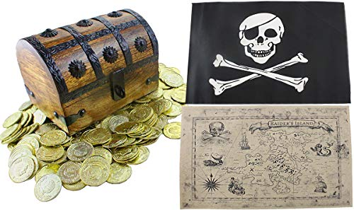 Large Wooden Pirate Treasure Chest Kids Toys 6.5