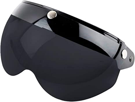 con visiera a 3 bottoni su visiera antivento Visiera per casco da moto per casco da moto con protezione UV stile vintage Breale