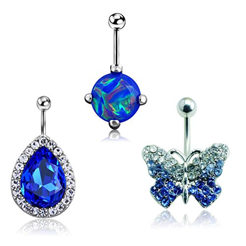 RichBest 3Pcs 14G Stainless Steel Belly Button Rings Gold Navel Bars Body Piercing Silver (3Pcs:Butterfly.Drop Gem) ()