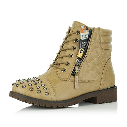 DailyShoes Women's Military Combat Boots Quilted Hiking Lace Up Buckle Ankle High Exclusive Credit Card Pocket Punky Beige