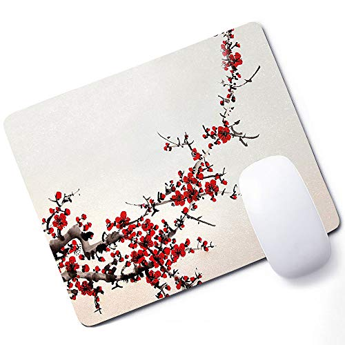 Art Gaming Mouse pad Cherry Blossom Sakura Tree Branches Ink Paint Stylized Japanese Artful Pattern Support Mouse pad Red Cream Brown 10x12 Inch (250mmX300mmX3mm) ()