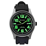 Mountaineer Mens Black Sport Watch Waterproof Oversized Large Face Big Dial Green Numerals Date Reloj Hombre MN8042