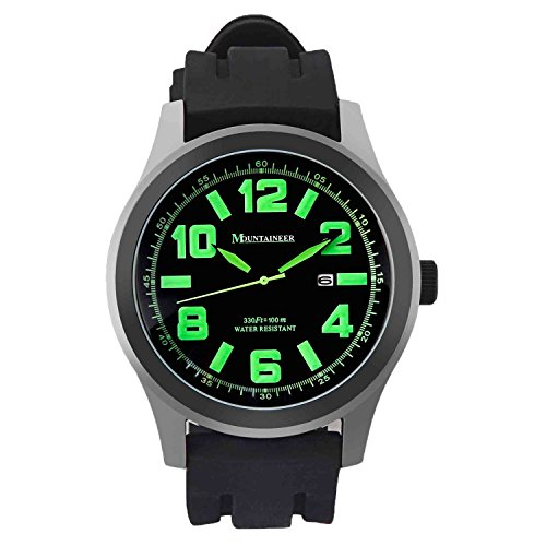 Mountaineer Mens Black Sport Watch Waterproof Quartz Movement Oversized Large Face Big Dial Green Numerals Date Reloj Hombre MN8042