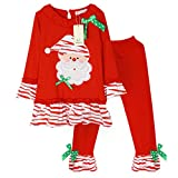 Kiddom Little Girls Christmas Costumes Santa Claus Modeling Clothes Set Top&Pant