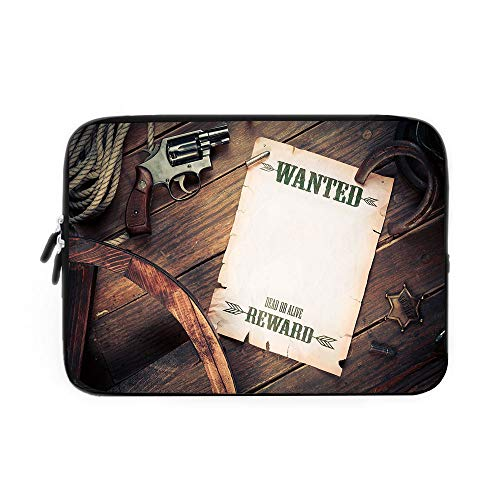 Western Laptop Sleeve Bag,Neoprene Sleeve Case/Empty Blank Wanted Sign Paper with Old West Sheriff Items on Wooden Planks Print Decorative/for Apple MacBook Air Samsung Google Acer HP DELL Le
